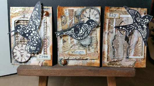 ATC Steampunk Bird Trio