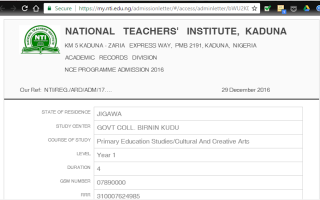 NTI Sample admission letter for an applicant into NCE Programme