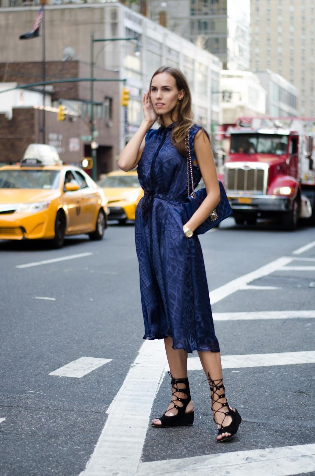 blue silk midi shirt dres outfit nyfw