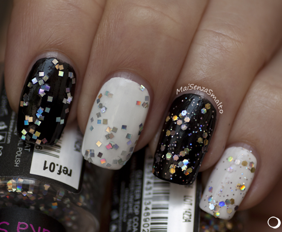 Shaka Glitter top coat: 01 Mirrorball - 02 Starlight su bianco e nero