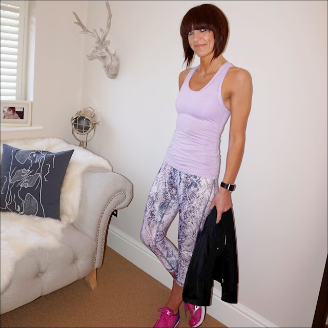 my midlife fashion, tesco f and f clothing, davina mccall sportswear, active zip through hoodie, active space dye light impact crop top, active racerback vest, active snake print mesh panel cropped leggings