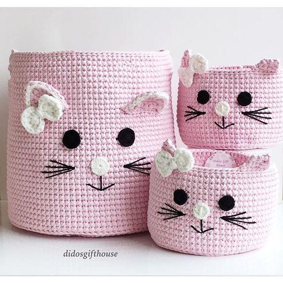 Luty artes crochet cestos de croch decorativos - Cestos decorativos ...