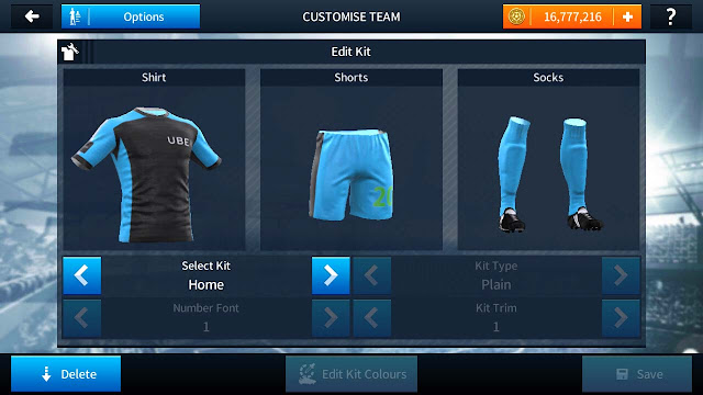 Kit Dream League Soccer Ojek Online Uber Biru