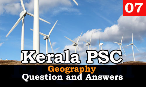 Kerala PSC Geography Question and Answers - 7