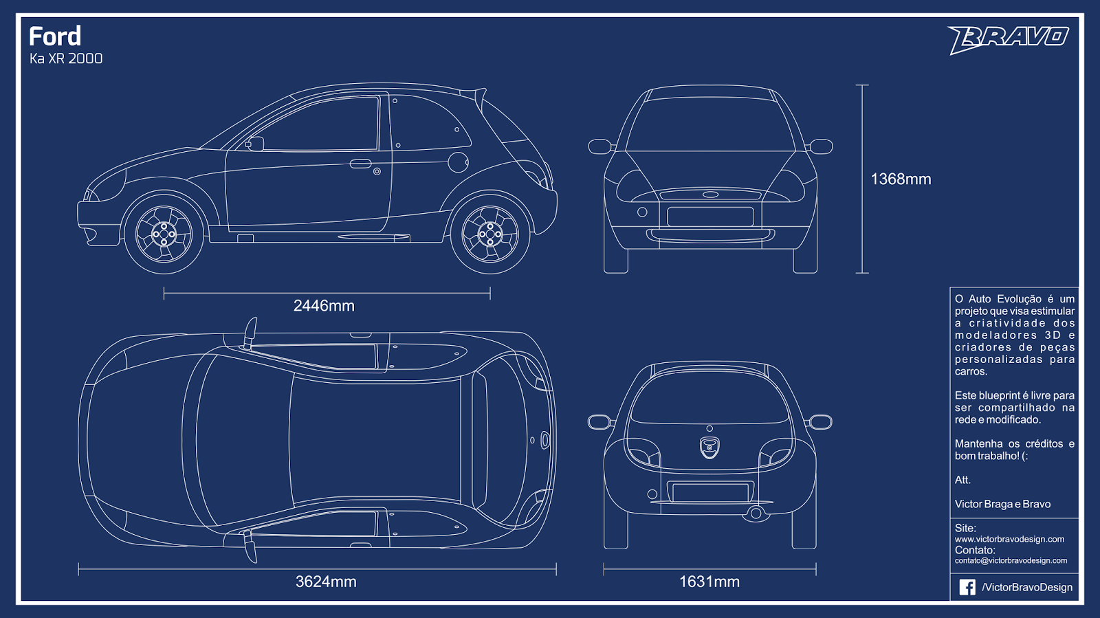 Imagem do blueprint do Ford Ka XR 2000