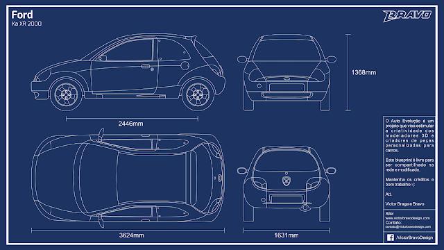Imagem do blueprint do Ford Ka XR 2000