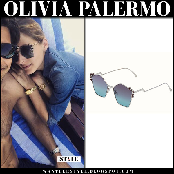 Olivia Palermo with pentagon shape Fendi Ruthenium sunglasses celebrities accessories august 2017 italy