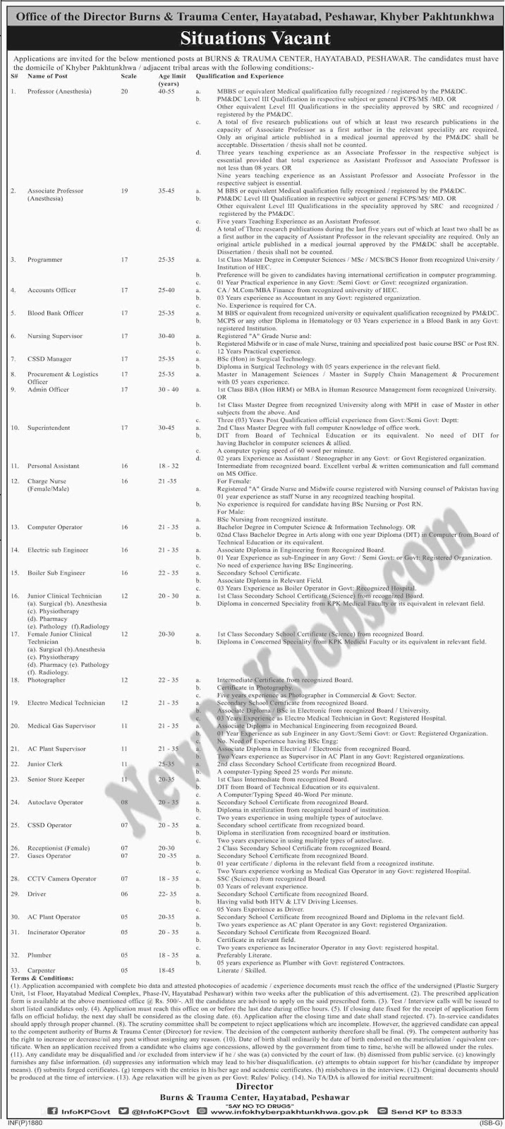 New Jobs in Burn and Trauma Centre Hayatabad