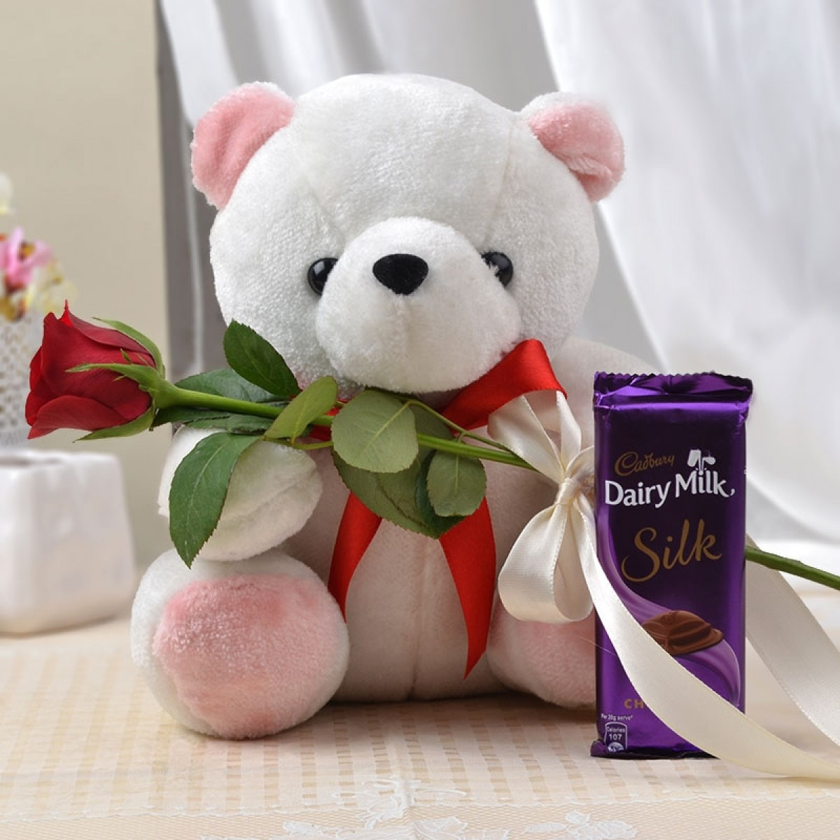 Cute Teddy Bear Image with Red Rose and Chocolate