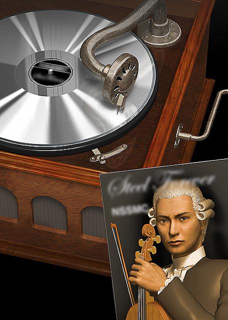 リアルイラスト、3DCG、蓄音機、レコード、クラシック、古いイメージ、演奏者