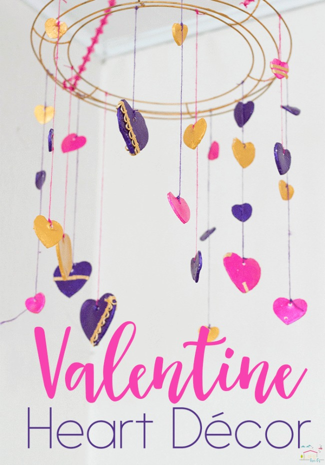 Clay craft ideas for kids. Hanging heart mobile made from air drying clay.