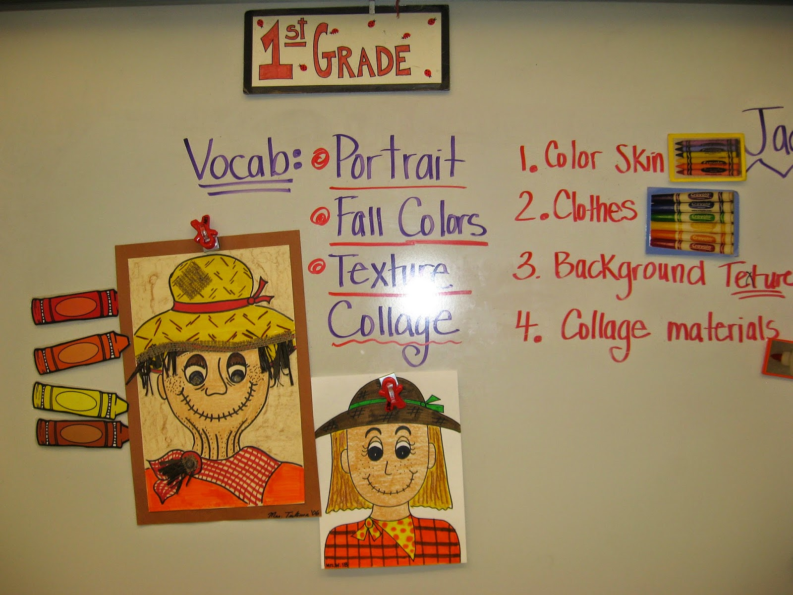 Jamestown Elementary Art Blog 1st Grade Scarecrow Portraits