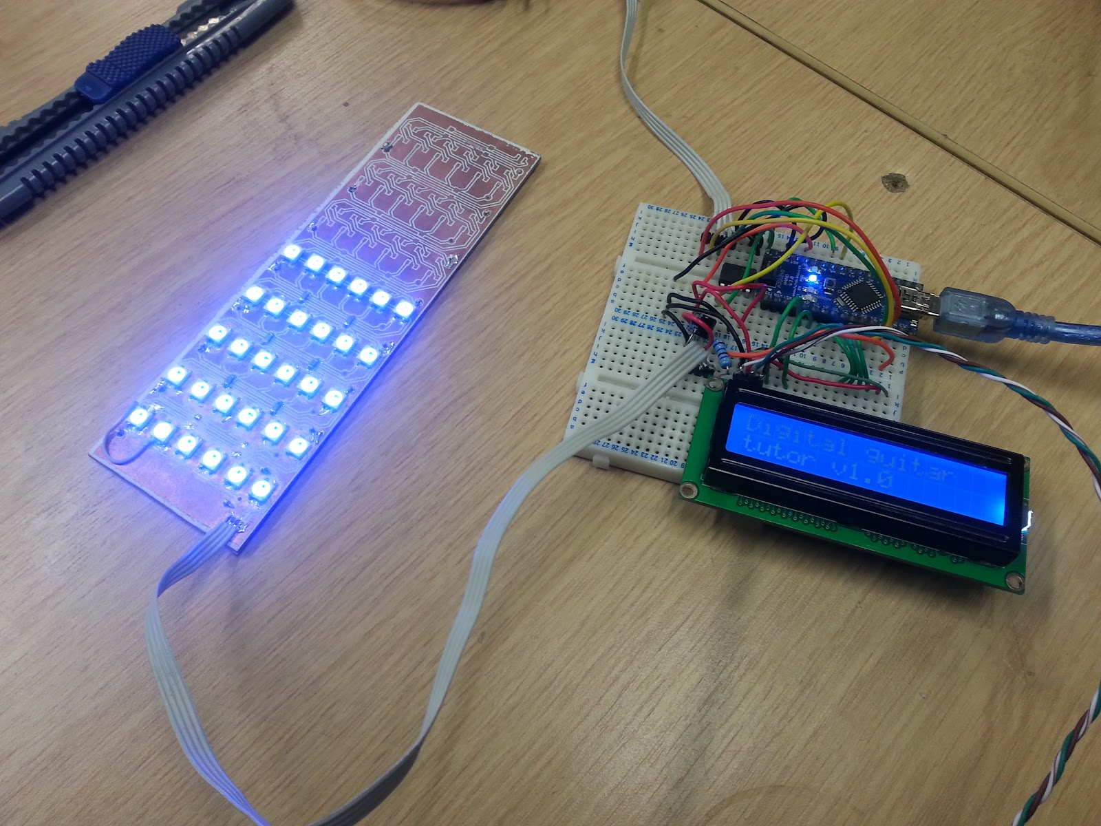 """(so far we've only soldered up six out of a possible nine """"frets"""" or  columns of LEDs, but enough to prove that the concept works - the circuit  design is ..."""