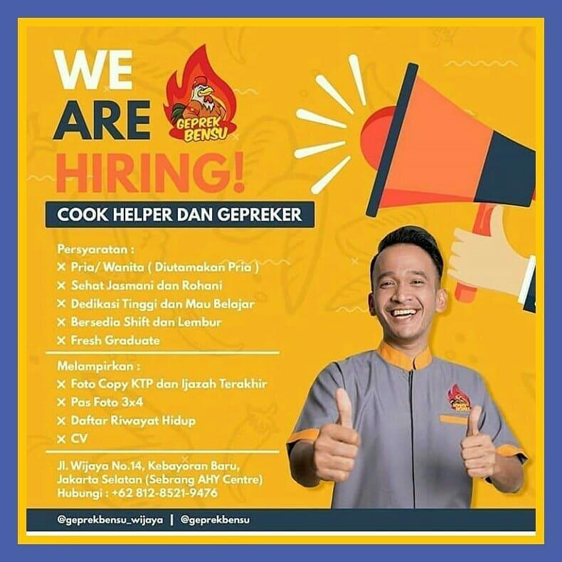 Info Lowongan Kerja Geprek Bensu Jakarta Selatan 2018 Info