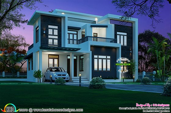 Beautiful 2122 sq-ft box type home night view