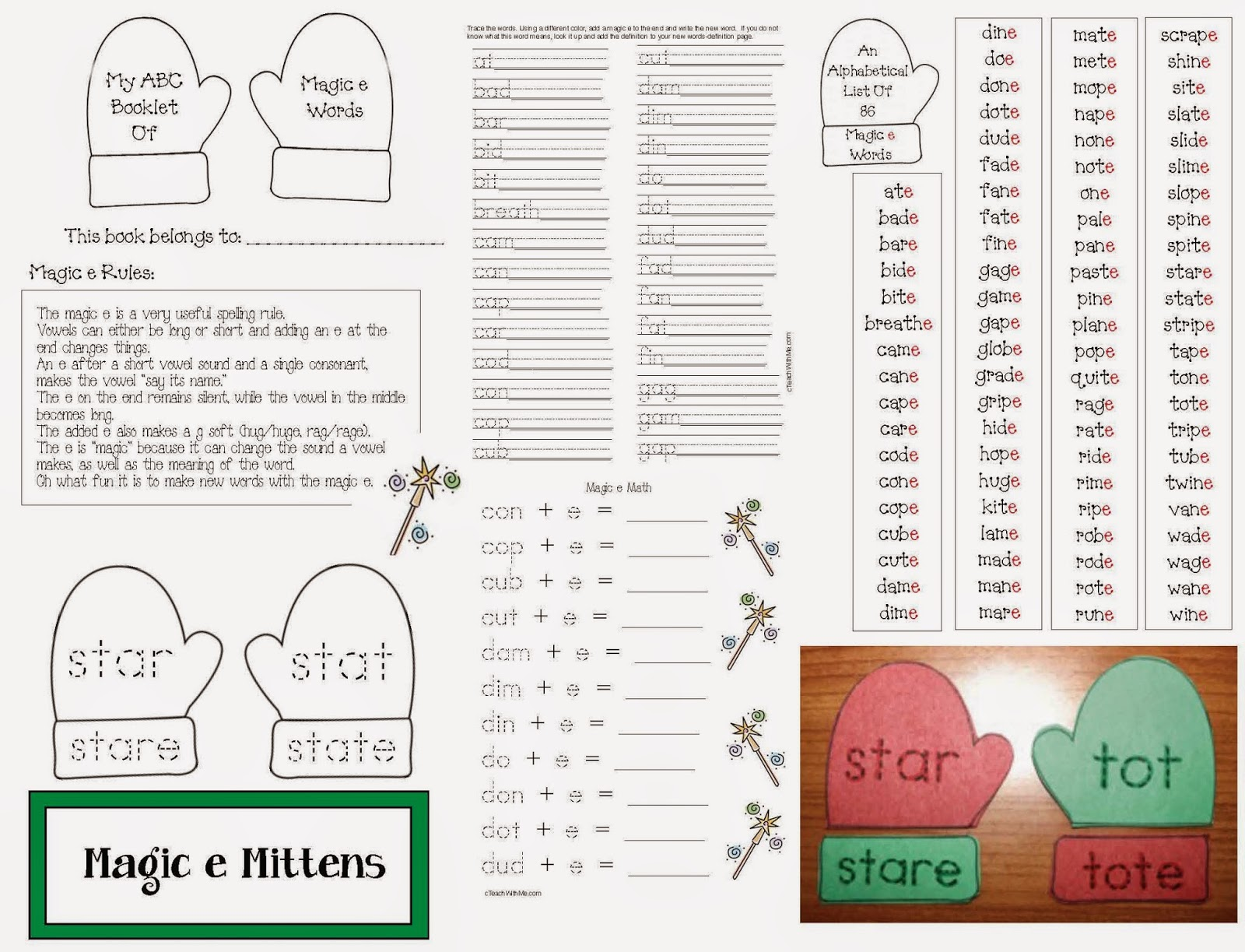 Classroom Freebies Magic Silent E Mitten Packet