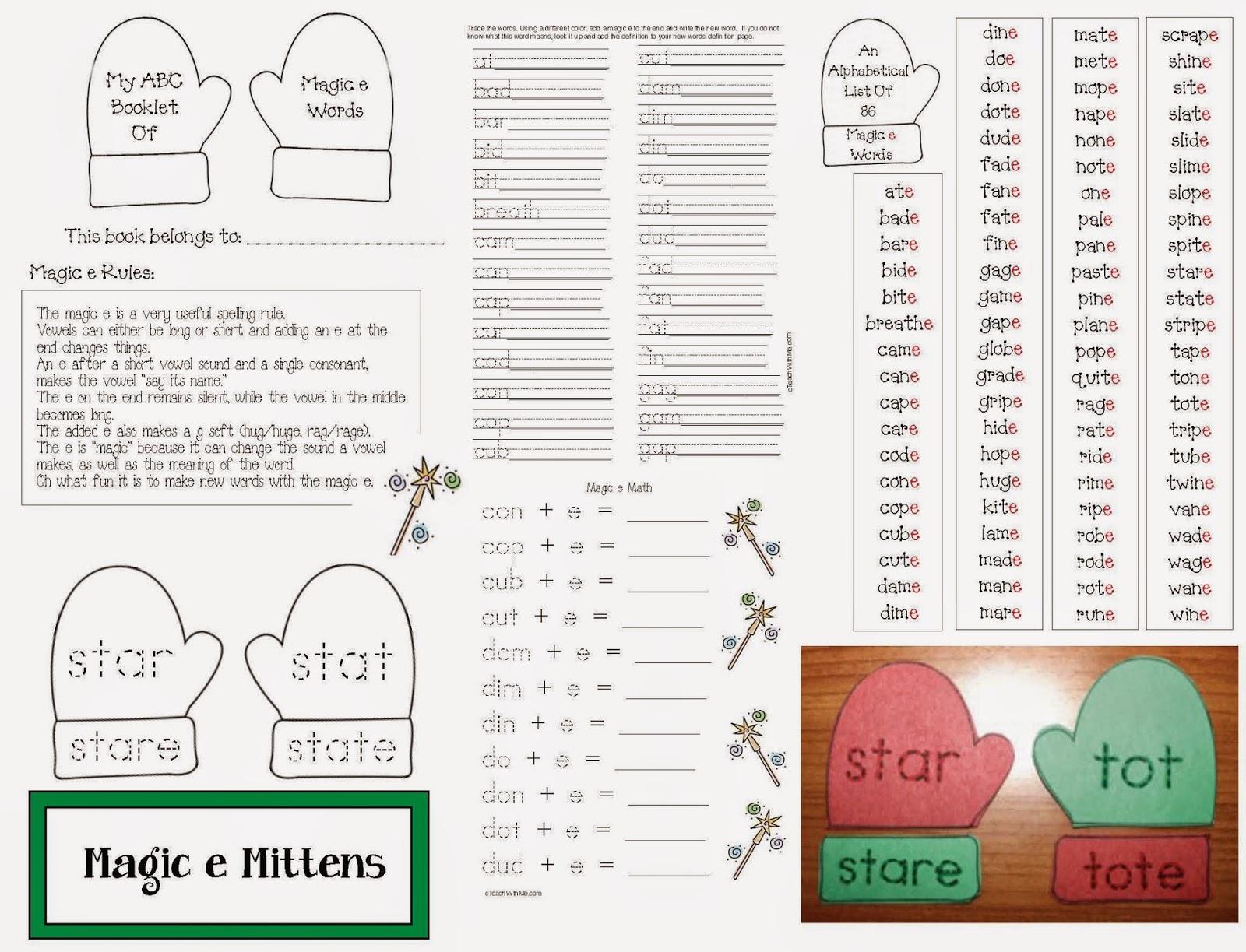 Classroom Freebies Magic Silent E Mitten Packet