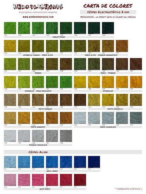 Carta de colores Césped Electrostático 2 mm