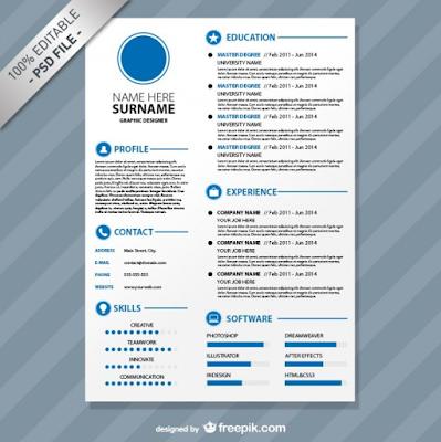 Contoh CV template PSD yang kedua adalah Editable CV Format