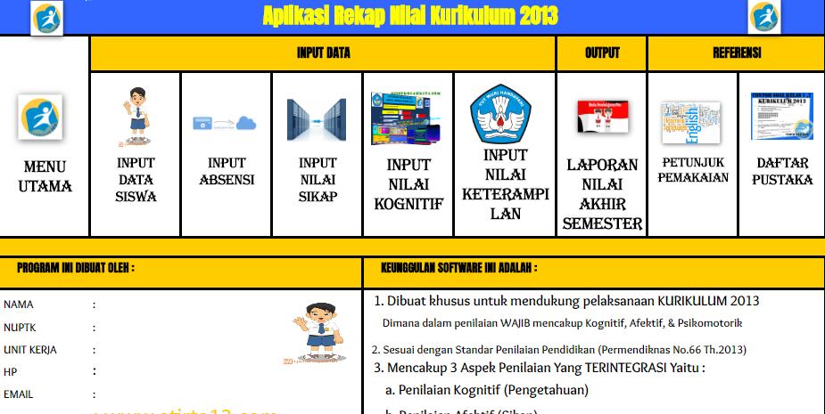 Xls Aplikasi Rekap Nilai Kurikulum 2013 Format Exel - Info