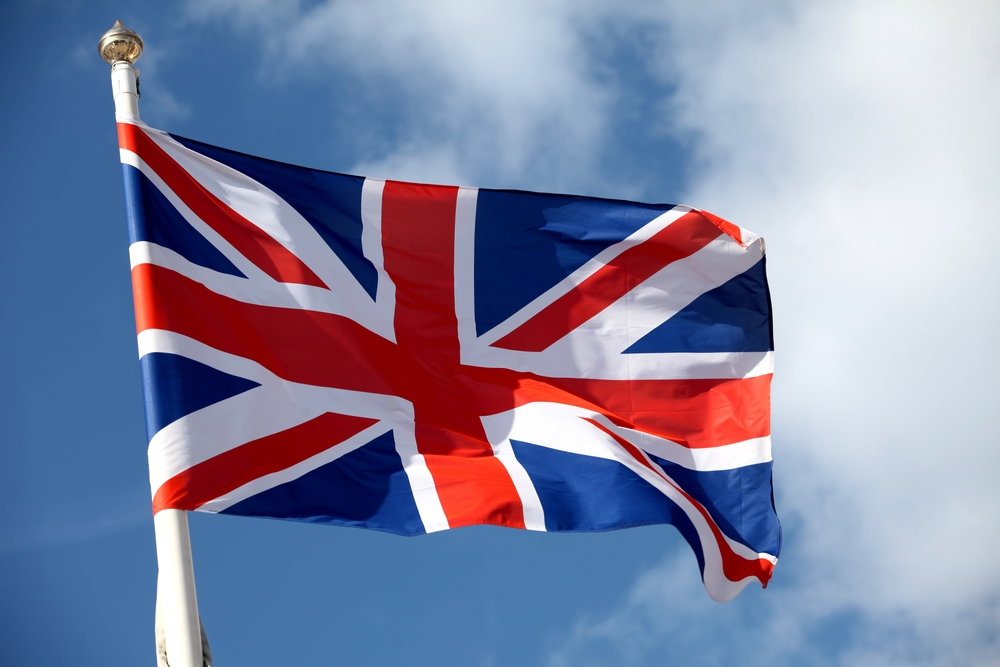British flag waving in the air