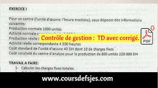 Contrôle de gestion TD + Corrigé