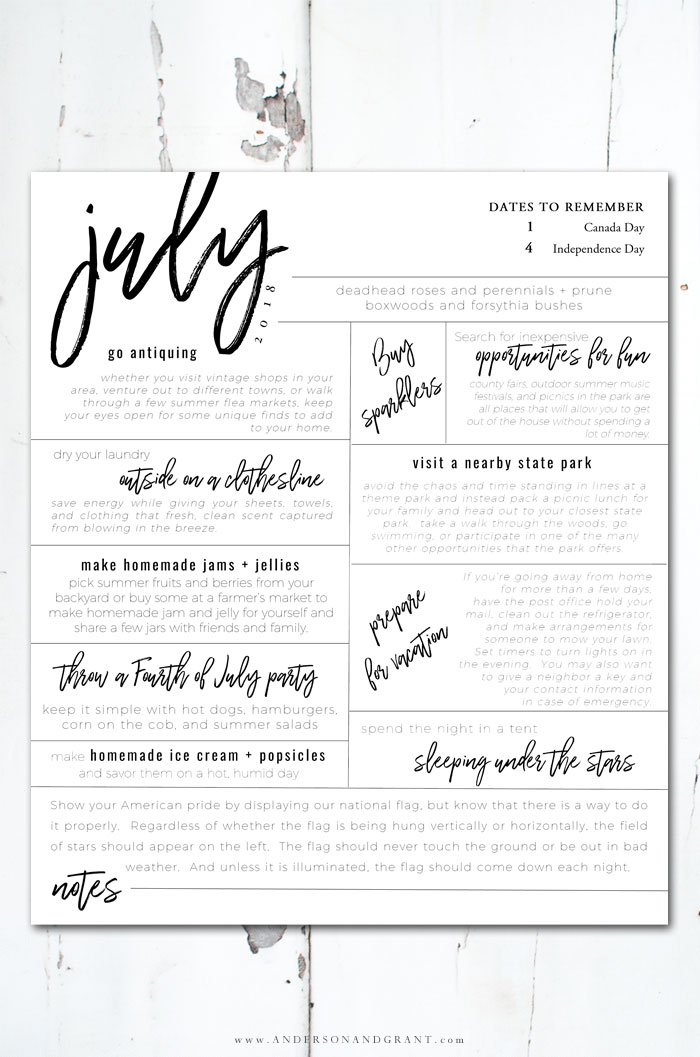 Free printable of all the things you should be doing this July. #freeprintable #May #printables #andersonandgrant
