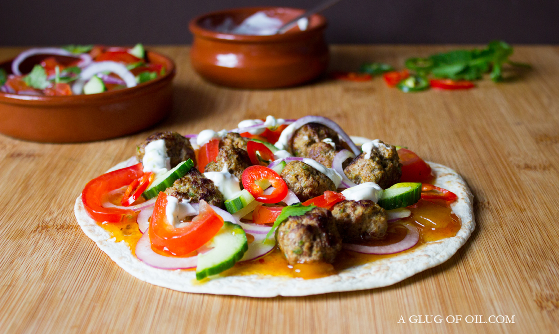Indian spiced Lamb Meatball Pizzas