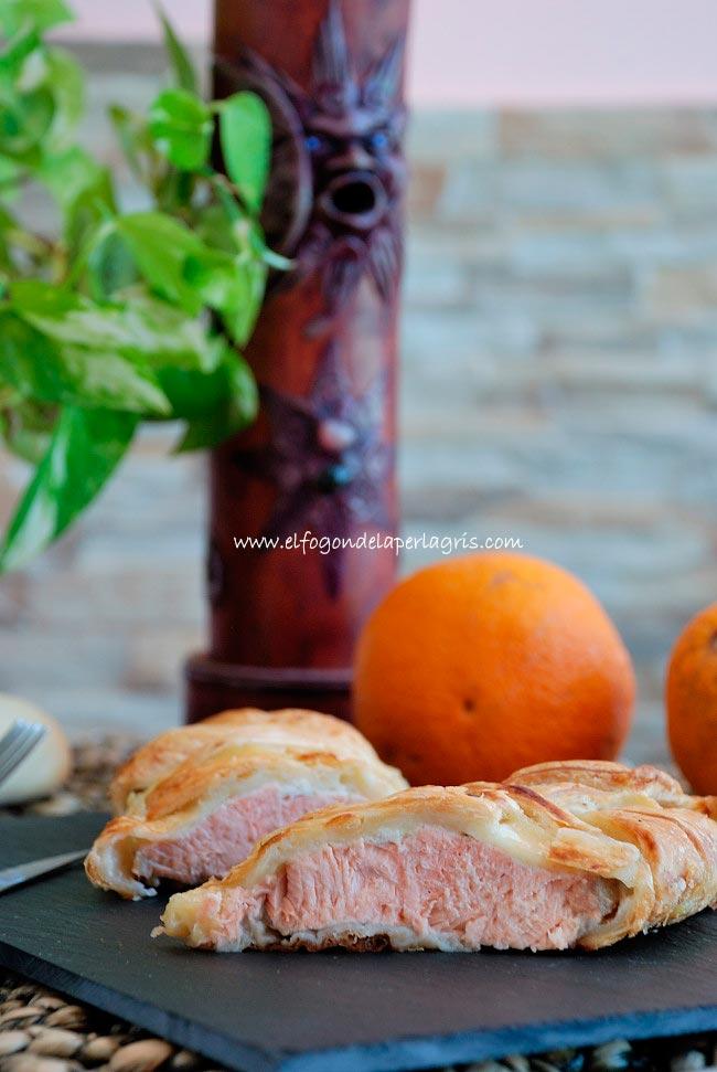Salmón con hojaldre al horno