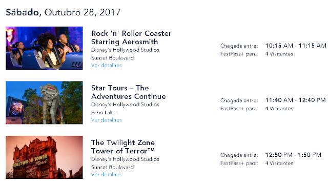 Confirmação de agendamento de fast pass no Hollywood Studios