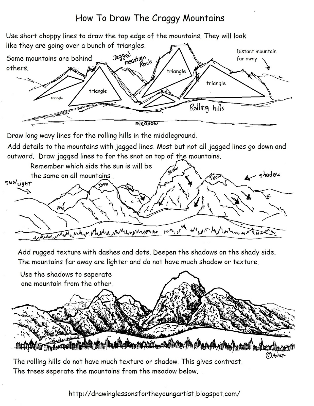 How To Draw Worksheets For The Young Artist How To Draw Craggy Distant Mountains