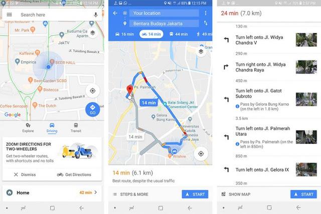 Cara menggunakan rute sepeda motor di aplikasi Google Maps.