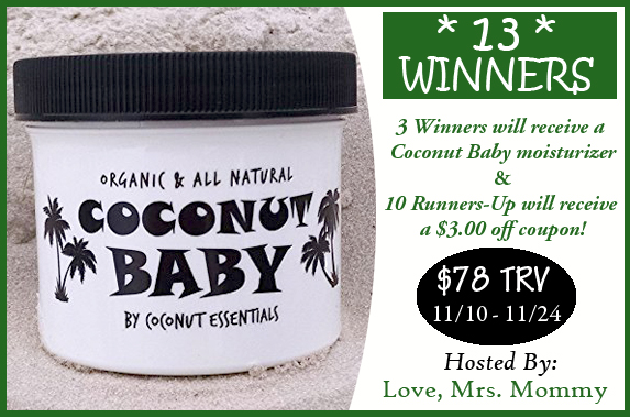 Coconut Essentials Coconut Baby Moisturizer Giveaway