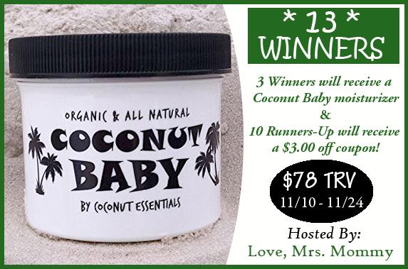 Coconut Essentials Coconut Baby Moisturizer Giveaway