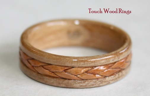 Apple Wood Ring with braided Birch Bark inlay