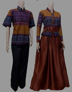 Model baju batik couple warna orange