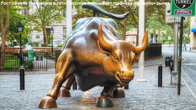 Рост объема транзакций в сети Биткойна показывает признаки «бычьего» рынка