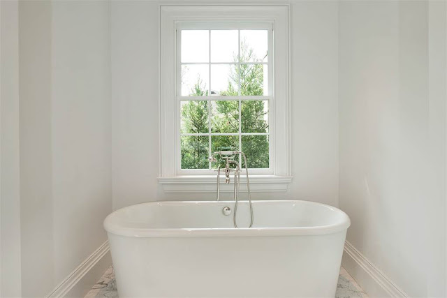 Washington DC luxury mansion Kalorama Freestanding bathtub regency style limestone