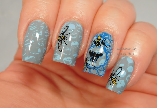 Buzzing hive manicure with Messy Mansion Stencil Kit and MM18