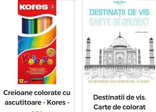 Carti si creioane de colorat disponibile aici