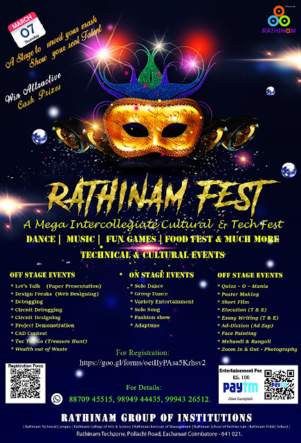 Rathinam Fest - 2019 - 7th March 2019 - Inter Collegiate Cultural and Technical Events