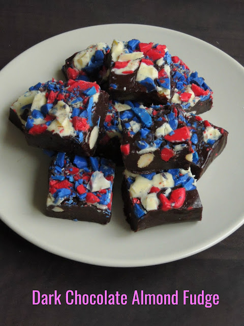 Almond dark chocolate fudge, 4th july fudge