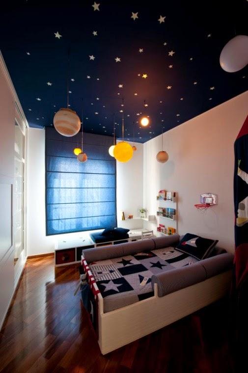 Dormitorios para niu00f1os tema espacial - Dormitorios colores ...