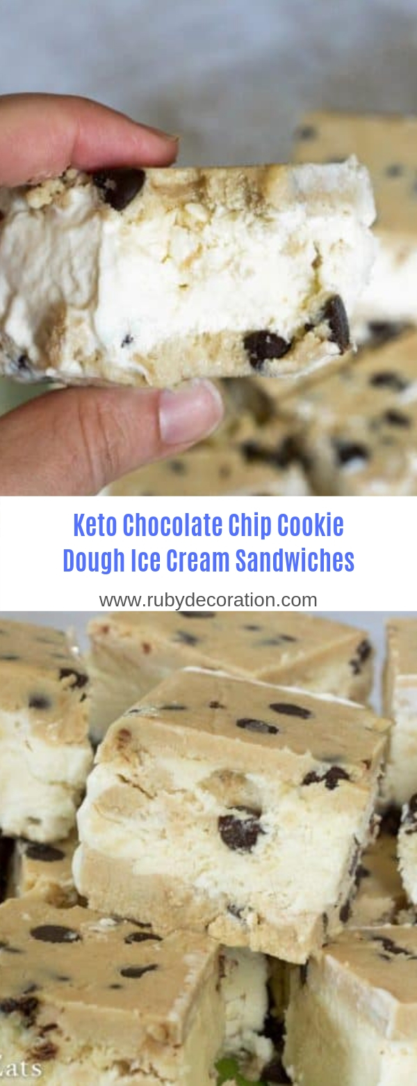 Keto Chocolate Chip Cookie Dough Ice Cream Sandwiches