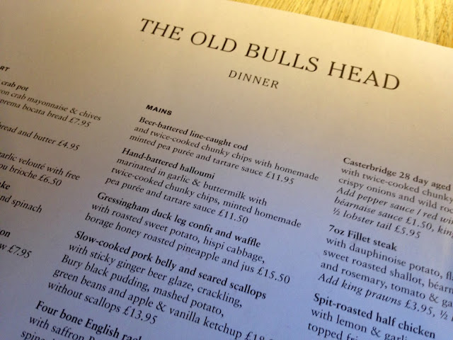 menu at the old bulls head