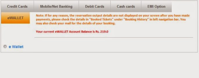 irctc make payment by eWallet