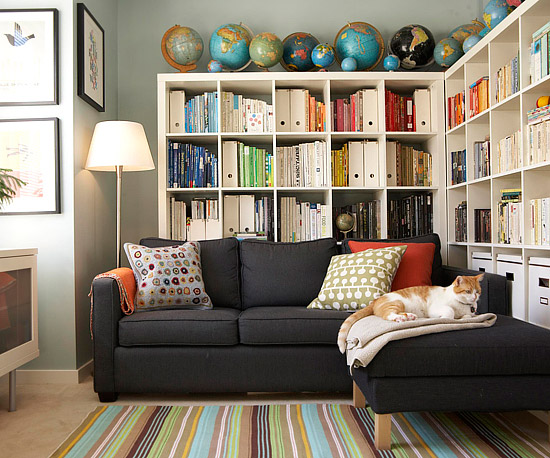 Creative Storage Solutions Keep This Home Organized And Provide A Place For Everything Collections Such As The Homeowner S Scores Of Colorful Books
