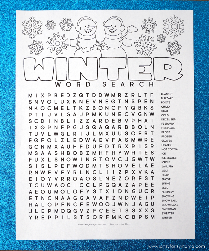 Sassy image throughout winter word search printable free