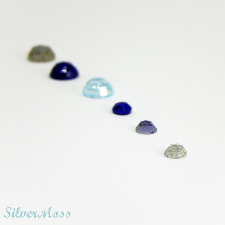 Rose Cut Cabochon Gemstones of Lapis lazuli, Labradorite, Iolite and Sky Blue Topaz in a line