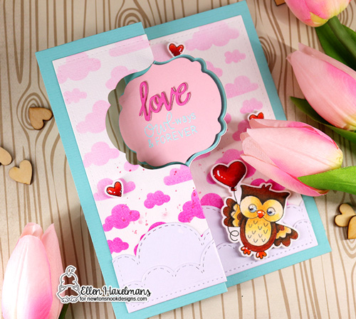 Owl Valentine Card by Ellen Haxelmans | Love Owl-ways Stamp Set, Cloudy Sky Stencil and Sky Borders Die Set by Newton's Nook Designs #newtonsnook #handmade